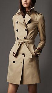Long Slim Fit Leather Detail Trench Coat-BURBERRY