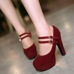 Ladies Classic Block Heels Platform Faux Suede Ankle Strap Womens Shoes Pumps Sz