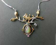 """Купить Колье """"Саламандра"""" с огненным опалом серебро 925 пробы золото - разноцветный, авторские украшения"""