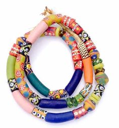 45 Mixed Ghana Recycled Glass Trade Beads