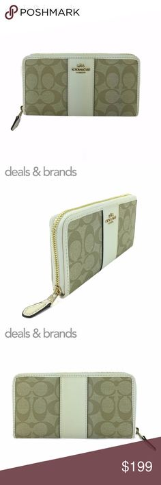 """NWT COACH Signature Coated Accordion Zip Wallet COACH SIGNATURE COATED CANVAS ACCORDION ZIP WALLET F54630 in KHAKI/CHALK ITEM NO: F54630 RETAIL PRICE: $250.00 COLOR: Khaki/Chalk CONDITION: NEW with TAGS, with gift box  Signature coated canvas with crossgrain leather trim Gold hardware 12 credit card slots Full-length bill compartments Zip coin pocket Zip-around closure 7 1/2"""" (L) x 4"""" (H) Fits all phone sizes up to an iPhone X and Samsung S7 Edge Coach Bags Wallets"""