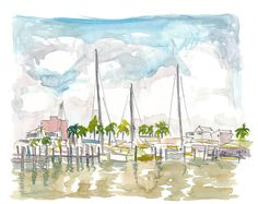 """Saatchi Art is pleased to offer the painting, """"Setting Sail From Key West Marina,"""" by M Bleichner, available for purchase at $369 USD. Original Painting: Watercolor on Paper. Size is 7.9 H x 11.8 W x 0.4 in. Beach Watercolor, Watercolor Paintings, Original Paintings For Sale, Original Artwork, Key West Beaches, Impressionism Art, Paint Set, Paper Art, Fine Art Prints"""