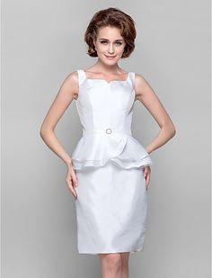 vaina / columna strapless hasta la rodilla tafetán madre del vestido de la novia - USD $ 99.99
