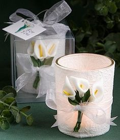 Calla Lily Design Wrapped Candle for a Wedding Favor, Bridal Shower Favor or especially an Anniversary decoration.