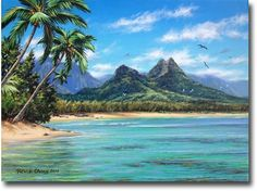 painting by Patrick Ching-----To get this view of Mount Olomana and Waimanalo one must be in the shallow, emerald colored waters near the Kaiona boat ramp. In the distance are the beach and ironwood trees of the area known as Sherwood Forest. The title of this painting is in reference somewhat because of the view looking toward Sherwood Forest, but more so because the painting was commissioned by a true friend of Hawaii's environment named Mike Sherwood