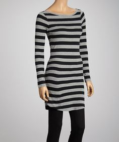 Love this Heather Gray & Black Stripe Tunic by kersh on #zulily! #zulilyfinds