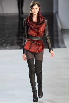 Helmet Lang? What I like: draping. Boots. Fur and leather - doesn't cross into western or hippie.