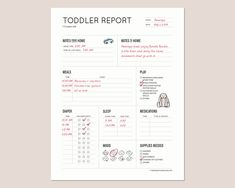 Baby Report: Daily baby tracker for Nanny, Daycare, In-home Preschool, Babysitter for breastfeeding and bottle-fed babies. – tips Weekly Behavior Report, Babysitter Printable, Toddler Schedule, Preschool At Home, Gross Motor Skills, Toddler Activities, As You Like, Breastfeeding, About Me Blog
