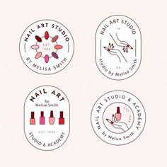 Nails art studio logo pack | Free Vector #Freepik #freevector #logo #business #design #template Business Illustration, Graphic Illustration, Rakhi Wallpaper, Logo Mano, Nails & Co, Nail Logo, Branding Design, Logo Design, Nail Art Studio