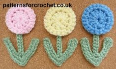 Free crochet pattern small flower applique usa. ☀CQ #crochet #applique #flowers