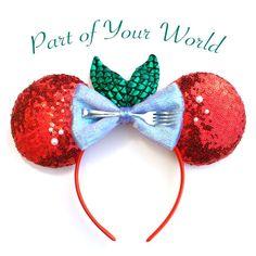 Designer Ariel Ears Inspired by Disney's Little Mermaid. Memorable Mouse Little Mermaid Ears, Little Mermaid Mickey ears, Little Mermaid Minnie ears, Little Mermaid Disney ears