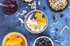 Creamy, rich and delicious Orange, Baobab & Blueberry Chia Pudding. A healthy vegan breakfast that happens to be yummy! #vegan #recipe #ericksonwoodworks