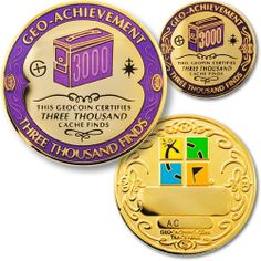 3000 Finds GeoAchievement set by GeoCachingOutlet on Etsy, $12.99