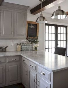 DIY Kitchen Makeover Ideas - Gray Themed Kitchen Makeover - Cheap Projects Projects You Can Make On A Budget - Cabinets, Counter Tops, Paint Tutorials, Islands and Faux Granite. Most Popular Kitchen Design Ideas on 2018 & How to Remodeling Sweet Home, Farmhouse Kitchen Cabinets, Kitchen Cabinetry, Kitchen Backsplash, Backsplash Ideas, Light Grey Cabinets Kitchen, Diy Cupboards, Gray Kitchen Countertops, Dark Cabinets