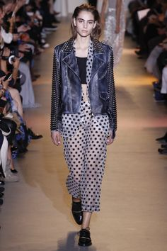 John Galliano | Spring 2016 Ready-to-Wear | 18 Grey studded leather jacket, white sheer dotted shirt and cropped trousers