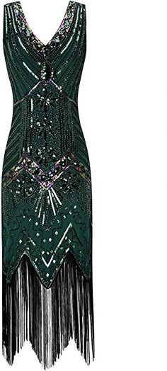 Metme Femmes Des Années 1920 Col En V Perlé Frange Gatsby Thème Robe Clapet Pour Le Bal: Amazon.fr: Vêtements et accessoires