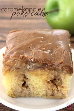 raw dessert recipes, dessert cup recipes, baking dessert recipes - If you love caramel and apples together, you are sure to love this Caramel Apple Poke Cake! It's the perfect fall dessert recipe idea! Brownie Desserts, Oreo Dessert, Coconut Dessert, Apple Desserts, Köstliche Desserts, Apple Recipes, Coconut Poke Cakes, Caramel Recipes, Health Desserts