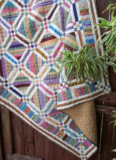 Margret Mary's Place: Bloggers' Quilt Festival-like the scrappy easy block with the 9 patch around