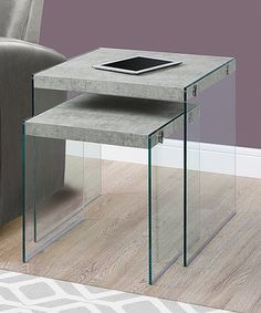 Gray Cement Tempered Glass Nesting Table Set #zulily #zulilyfinds