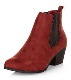 Dark Red Suedette Chelsea Boots | New Look