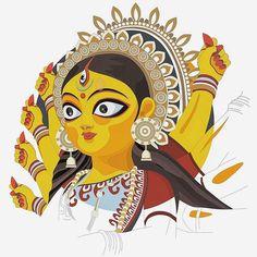 Cartoon Drawings, Easy Drawings, Cartoon Art, Durga Maa, Durga Goddess, Shiva Shakti, Big Cats Art, Cat Art, Durga Painting