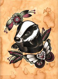 14 Best Badger Tattoos Images Face Tattoos Honey Badger Tattoo