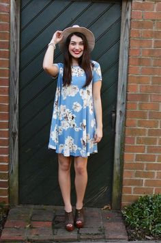 Light Blue Short Sleeve Floral Print Dress #iHeartDSP