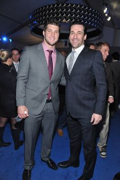 INDIANAPOLIS, IN - FEBRUARY 04:  NFL player Tim Tebow of the Denver Broncos (L) and actor Jon Hamm attend NFL Honors And Pepsi Rookie Of The Year in the Pepsi Blue Room at Murat Theatre on February 4, 2012 in Indianapolis, Indiana.  (Photo by Mike Coppola/Getty Images for Pepsi)