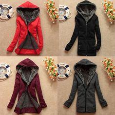 Women's Hooded Jacket Coat Warm Sweatshirt Pullover Slim Fit Trench Outwear NEW Fleece Hoodie, Pullover, Hooded Winter Coat, New Fashion, Womens Fashion, Hoods, Leather Jacket, Slim, Jackets
