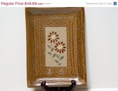 Signed Japanese Hand Crafted Studio Art Rectangular Brown Pottery Plate
