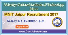 "MNIT Jaipur Recruitment 2017 - Hiring Junior Research Fellow (JRF)/ Project Fellow Post, Salary Rs.16,000/- : Apply Now !!!  The Malaviya National Institute of Technology Jaipur – MNIT Jaipur Recruitment 2017 has released an official employment notification inviting interested and eligible candidates to apply for the positions of Junior Research Fellow (JRF)/ Project Fellow under IUAC sponsored project entitled, ""Ion irradiation induced growth of Cu nano-particles in fu"