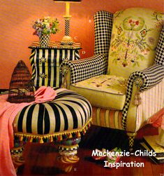 MacKenzie Childs style of furnishings Hand Painted Furniture, Funky Furniture, Upholstered Furniture, Striped Furniture, Garden Furniture, Mackenzie Childs Furniture, Mackenzie Childs Inspired, Mackenzie Foy, Mckenzie And Childs