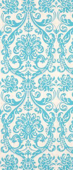 Premier Prints Abigail Mandarin/ Turquoise Blue Damask Dossett Fabric $13.98 per yard