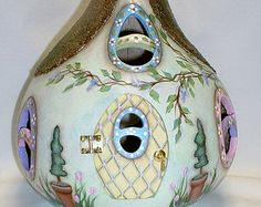 Gourd Light Up Easter Bunny Garden Cottage - Hand Painted