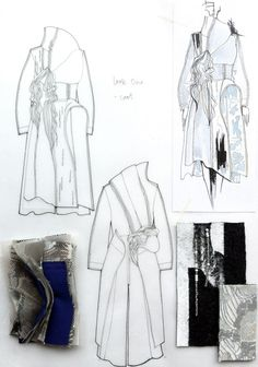 Fashion Sketchbook - fashion design drawings and textiles samples - fashion sketches; collection development // Connie Blackaller by sallie Fashion Portfolio Layout, Fashion Design Sketchbook, Fashion Design Drawings, Art Portfolio, Illustration Mode, Fashion Illustration Sketches, Fashion Sketches, Medical Illustration, Sketchbook Layout