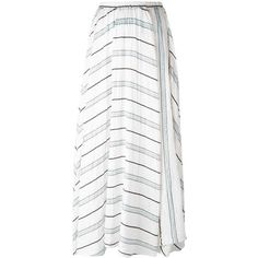 Forte Forte gathered striped midi skirt (€465) ❤ liked on Polyvore featuring skirts, green, stripe midi skirt, green silk skirt, white ruched skirt, white knee length skirt and stripe skirt