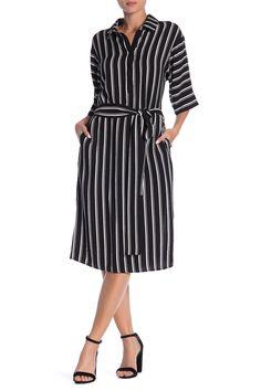 Striped Tie Waist Midi Dress by Dress Forum on 15 Dresses, Dresses For Work, Nordstrom Dresses, Nordstrom Rack, Collars, Shirt Dress, Tie, Shirts, Fashion