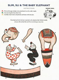 vintage CIRCUS FUN, Part 2 by Shelece, via Flickr.  DIY paper craft printable paper doll.  Elephant & clown show.