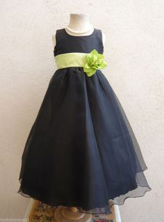 KC1 NEW BLACK LIME GREEN WEDDING BRIDAL PARTY KIDS GOWN FLOWER GIRL DRESS  #Dress