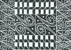 Biały wzór na czarnej kartce