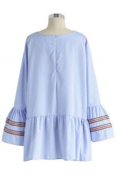 Blue Stripe Leisure Top with Bell Sleeves - Tops - Retro, Indie and Unique Fashion