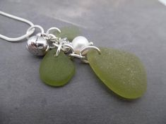Items similar to Green Sea Glass Necklace Pumpkin Jewelry Silver Beach on Etsy Sea Glass Ring, Sea Glass Necklace, Sea Glass Jewelry, Silver Jewelry, Beaded Jewellery, Sea Glass Mosaic, Beach Jewelry, Diy Jewelry, Matching Necklaces