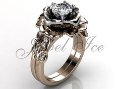 14k two tone rose and white gold diamond unusual unique flower