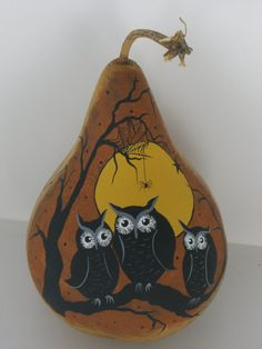Owls Gourd...do I pin this under Gourd Art or Owls or Halloween?