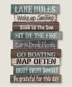 Look at this 'Lake Rules' Wall Sign on #zulily today!