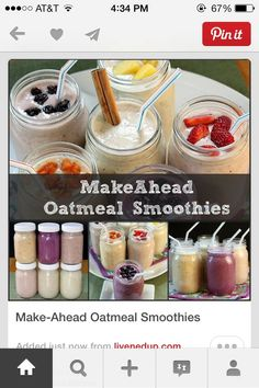 Make Ahead Oatmeal Smoothies!!!