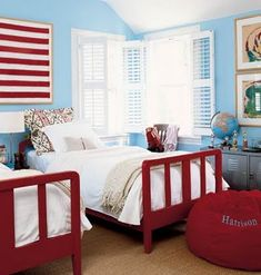 Cute Red & Blue Kid's Room!! Maybe if we paint the white toddler bed red it won't look so girly and would work in something like this for one of the boys?