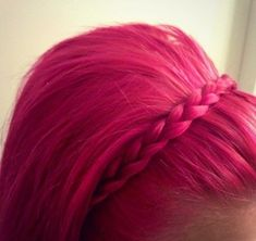 Pink hair with braided hair head band... I wish my hair was long enough for the braided hair headband!!!!