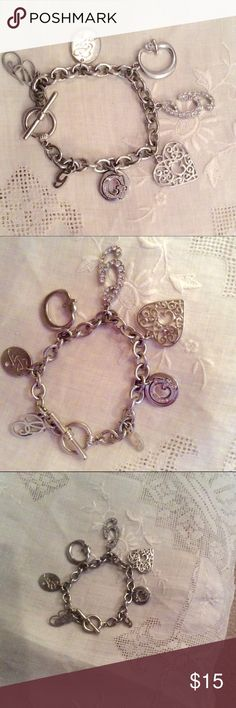 """🔆 Intial """"G"""" Guess Silver 7 Charm Bracelet 🔆 Intial """"G"""" Guess Silver 7 Charm Bracelet. Never worn. Beautiful fun piece. Guess Jewelry Bracelets"""