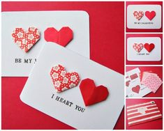 Origami Hearts | 40 Unconventional DIY Valentine's Day Cards